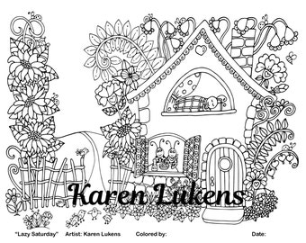 Lazy Saturday, 1 Adult Coloring Book Page, Printable Instant Download