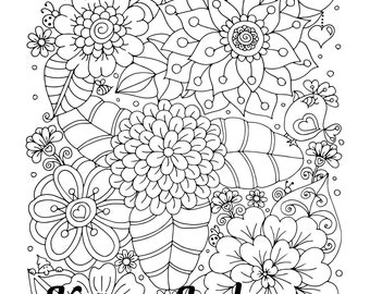 Sprung, 1 Adult Coloring Book Page, Printable Instant Download, flowers