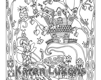 Happyville Cliff House , 1 Adult Coloring Book Pages, Printable Instant Download