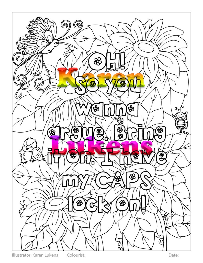 CAPS LOCK ON, 1 Adult Coloring Book Page, Printable Instant Download