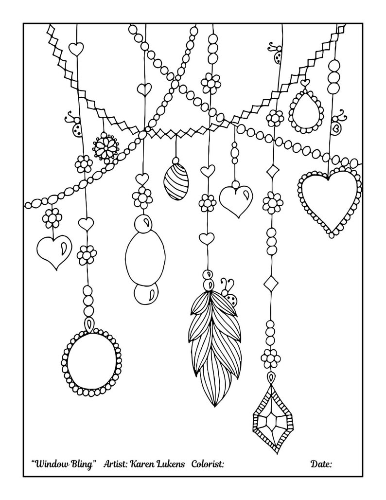 Window Bling 1 Adult Coloring Book Page Printable Instant image 0