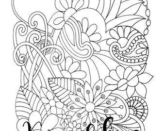 """Valentine's - """"My Heart"""", 1 Adult Coloring Book Page, Instant Download, Valentine's"""