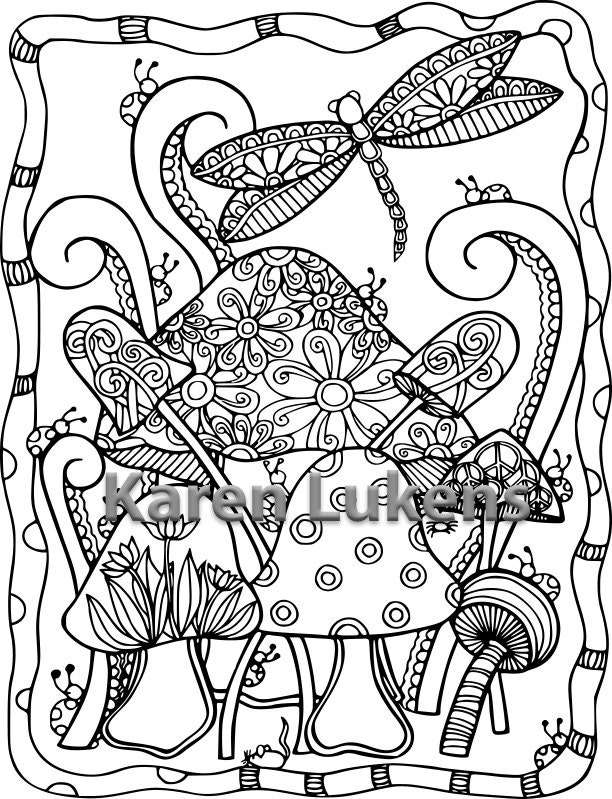5 Pages Dragonfly Coloring Pack 1 Adult Book Printable Instant Download