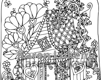 Fairy House #3, 1 Adult Coloring Book Page, Printable Instant Download