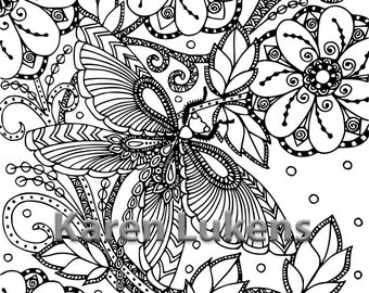 Butterfly Garden #2, 1 Adult Coloring Book Page, Printable Instant Download