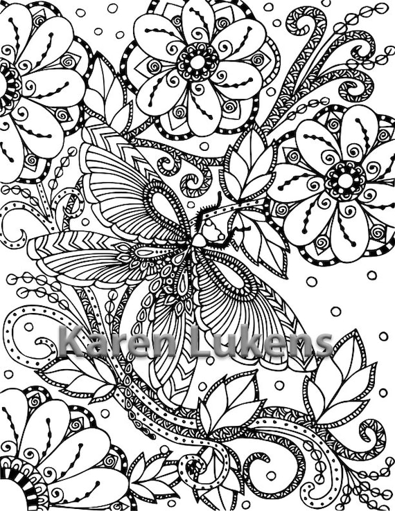 Butterfly Garden 2 1 Adult Coloring Book Page Printable | Etsy