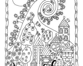 Downtown Happyville, 1 Adult Coloring Book Page, Printable Instant Download, Whimsical Houses