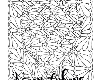 Valentine's - You Make My Heart Bloom, 1 Adult Coloring Book Page, Printable Instant Download, Flowers, Valentine's