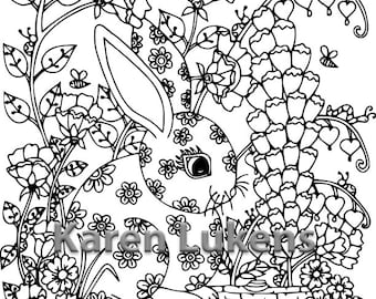 Happy Bunny, 1 Adult Coloring Book Page, Printable Instant Download