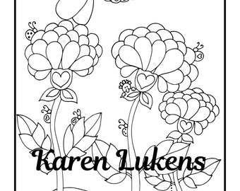 Simply Pretty, 1 Adult Coloring Book Page, Printable Instant Download, flowers