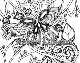 Butterfly Garden #3, 1 Adult Coloring Book Page, Printable Instant Download