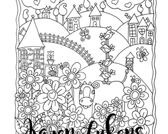 Free Ride, 1 Adult Coloring Book Page, Printable Instant Download