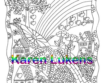Rainbow Day, 1 Adult Coloring Book Page, Printable Instant Download