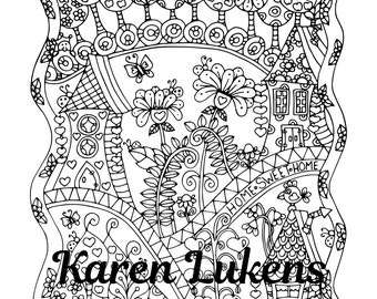 Home Sweet Home, 1 Adult Coloring Book Page, Printable Instant Download