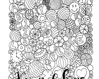 Silly Marbles, 1 Adult Coloring Book Page, Printable Instant Download.