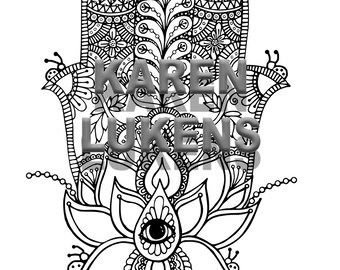 Hamasa Hand, 1 Adult Coloring Book Page, Printable Instant Download
