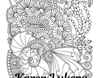 Cheerful Doodles, 1 Adult Coloring Book Page, Instant Download, Tangles