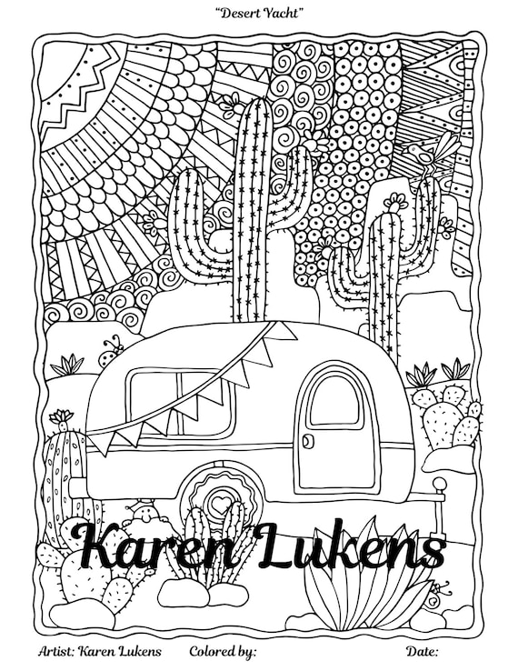 Desert Yacht 1 Adult Coloring Book Page Instant Download Etsy