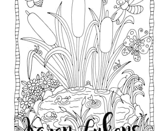 Happy Pond, 1 Adult Coloring Book Page, Printable Instant Download