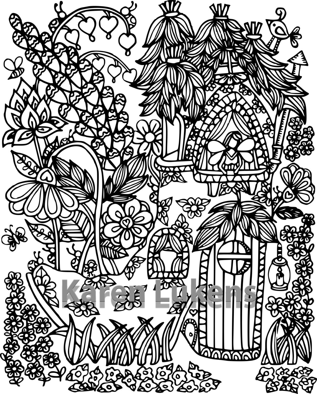 Happyville fairy house 2 1 adult coloring book page etsy