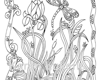 Iris Water Garden, 1 Adult Coloring Book Page, Printable Instant Download