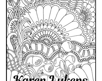 Fantastica, 1 Adult Coloring Book Page, Instant Download, Doodles, Tangles