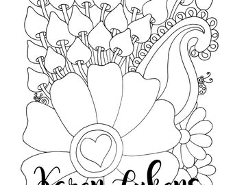 Big Petals, 1 Adult Coloring Book Page, Printable Instant Download