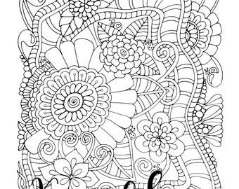 Serendipity, 1 Adult Coloring Book Page, Printable Instant Download, Karen Lukens