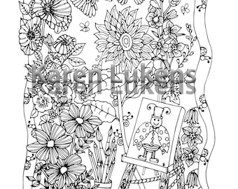 Mayor of Happyville, 1 Adult Coloring Book Page, Printable Instant Download