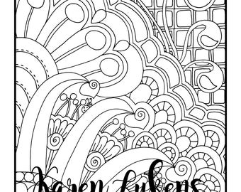 A Swirly Thing, 1 Adult Coloring Book Page, Printable Instant Download, Valentine's