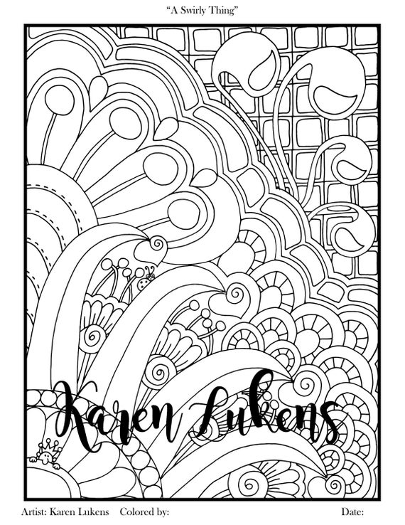 A Swirly Thing 1 Adult Coloring Book Page Printable Instant
