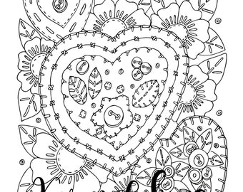 """Valentine's - """"Stitch My Heart"""", 1 Adult Coloring Book Page, Printable Instant Download, Flowers, Valentine's"""