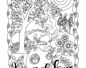 Apple Tree Acres, 1 Adult Coloring Book Page, Printable Instant Download