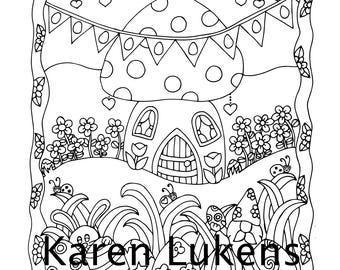 Easter Egg Hunt, 1 Adult Coloring Book Page, Printable Instant Download