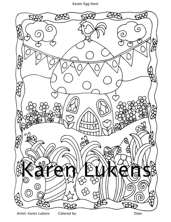 Easter Egg Hunt, 1 Adult Coloring Book Page, Printable Instant Download