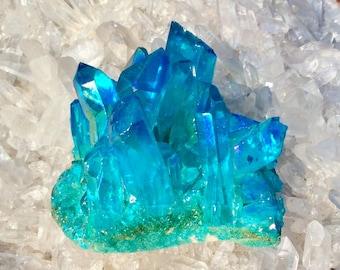 Electric Aqua Blue Angel Aura Quartz Crystal Cluster ~ 4.9 oz Cluster ~ Rainbow Iridescent Mineral Specimen ~ FREE SHIPPING + Gift Wrap ~