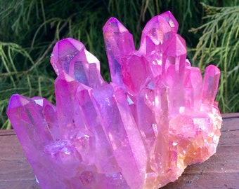 Dazzling Pink Angel Aura Quartz Crystal ~ 9.6 oz ~ Iridescent Aurora ~ Fuschia ~ Display Cluster - Free Shipping + Gift Wrap - Goddess Stone