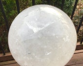 55 Lb. Large Clear Quartz Crystal Ball 8 quot Wide Polished Sphere Beautiful Display Reiki Feng Shui Stunning, Elegant Show Piece