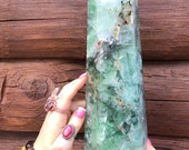 7 LB Rainbow Green Angel Feather Fluorite Generator, Pillar, Tower, Great Sparkle Golden Healer, Black Phantom, Red Silver Inclusions