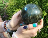 2 Lb 9.4 oz Labradorite Sphere 3 1 2 quot Wide Crystal Ball Flashy Blue Iridescent Mineral Beautiful Display Ball Reiki, Feng Shui