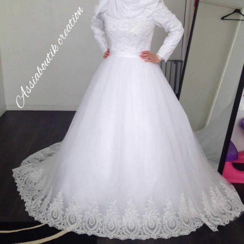 aed38c91500 Hijab wedding dress Robe de mariée hijab sur mesure