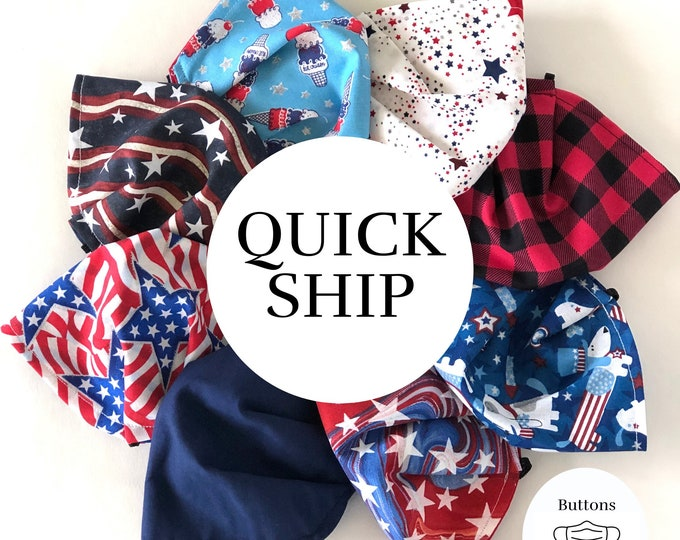 Red White and Blue Face Mask - Anti Fog Face Mask for Glasses - Patriotic Face Mask