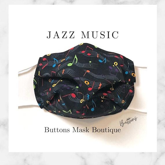 Music Face Mask- Anti Fog Face Mask - Face Mask for Glasses - Music Note Face Mask