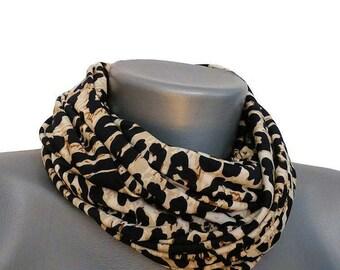 Hose scarf, handmade, with leopard print, 148 cm x 24 cm, art. No. 8019