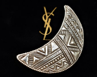 7ce2f7a0589 Vintage YSL Brooch Silver Crescent Moon Brooch Yves Saint Laurent Silver  Brooch French Designer Jewelry YSL Moon Brooch Vintage Silver Moon
