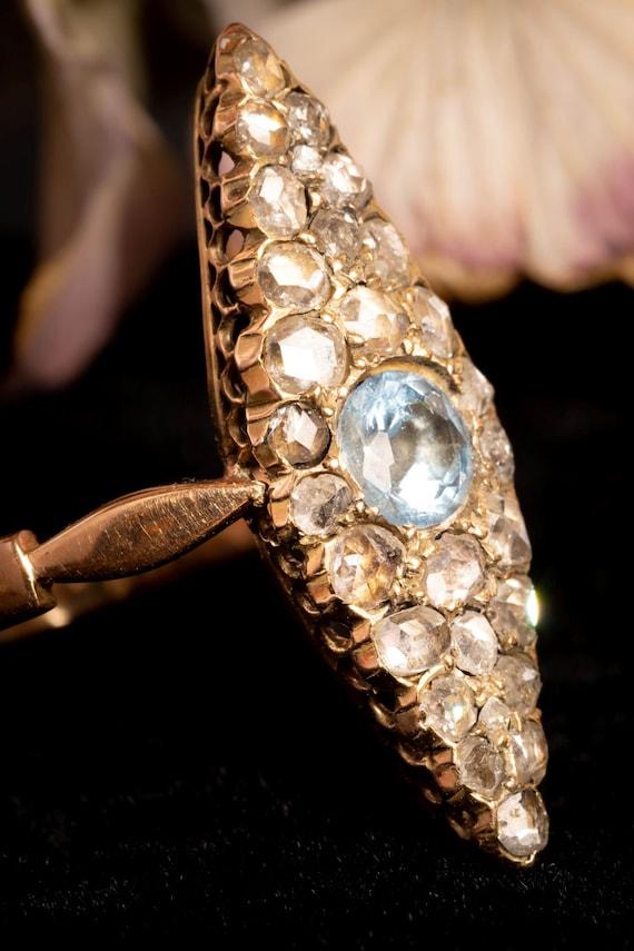 Antique Victorian Navette Aquamarine and Diamond … - image 6