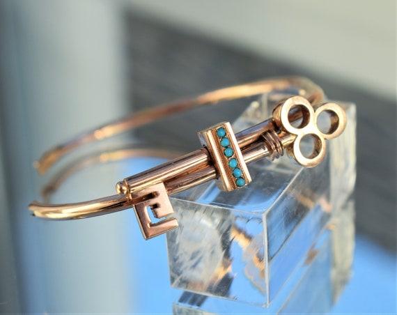 Antique Rose Gold Key Bracelet, Antique Victorian