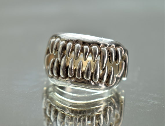 Large Silver Jaws Ring, Unisex Silver Teeth Ring,… - image 2