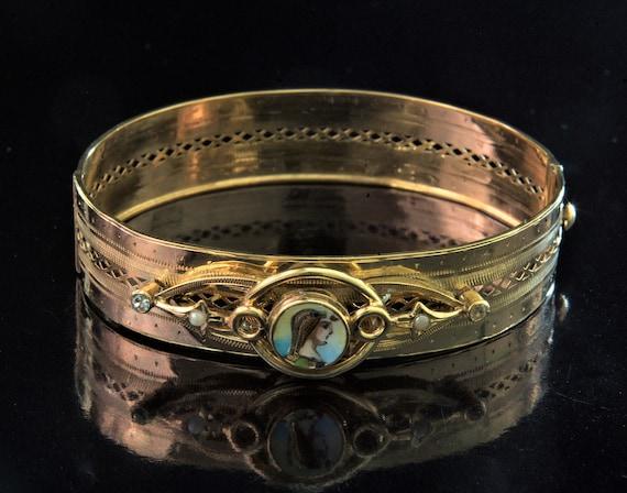 Antique Gold Enamel Pearl Bracelet, Antique Egypti