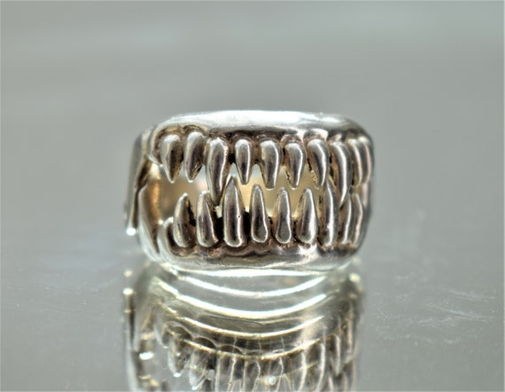 Large Silver Jaws Ring, Unisex Silver Teeth Ring,… - image 6